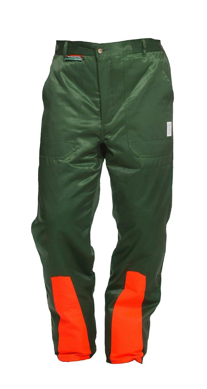 WOODSafe® - Pantaloni protettivi da boscaiolo, classe 1, con certificazione tedesca KWF, protezione antitaglio tipo 'A', colore verde/arancione, leggeri protezione antitaglio tipo A WOODSafe®