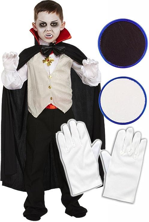Childrens Dracula vampiro costume di Halloween con guanti e pittura facciale b0cc0d9a08f8