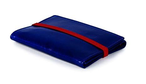 PIAMONTE, 950 Icon, Cartera piel desplegable pequeña, cuero azul china, rojo anaranjado