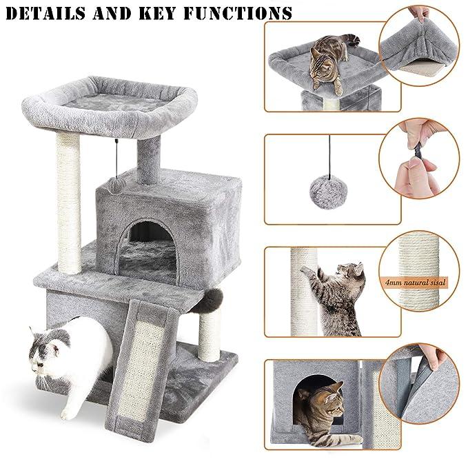 Amazon.com: PAWZ - Torre de gato con doble condos, percha ...