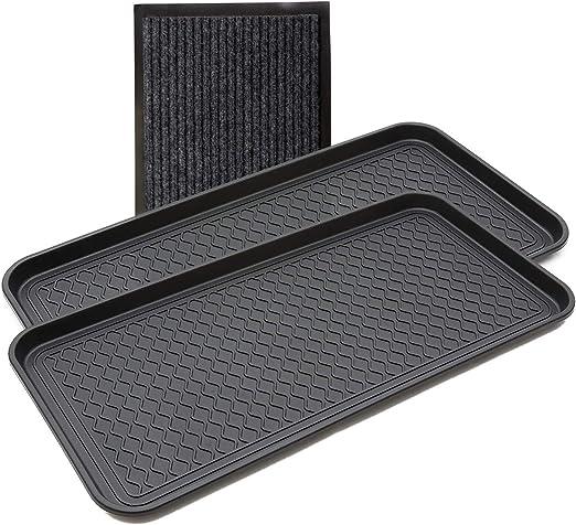 Yolju - Juego de 2 bandejas multiusos para maletero con un felpudo pequeño para entrada en interior/