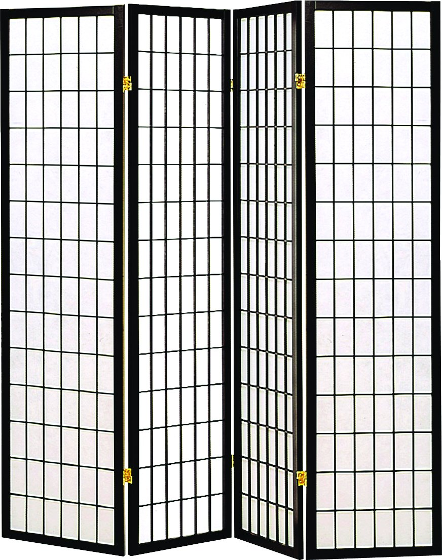 Coaster Oriental Style 4 Panel Screen Room Divider Black Framed With White Panels