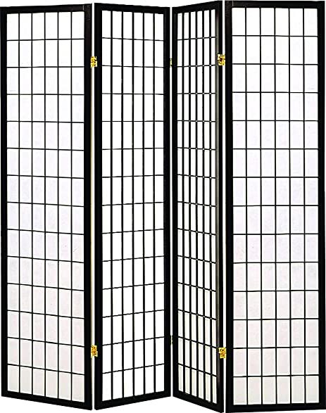 coaster home furnishings oriental shoji 4 panel folding privacy screen room divider black