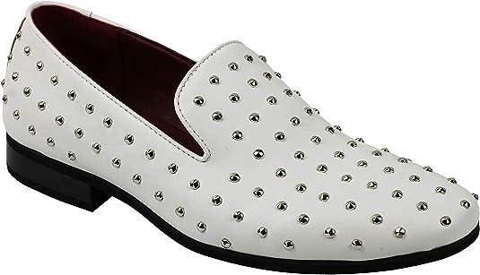 Hombres De Piel con Refuerzo De Metal Tachonado con Pinchos De Diseño Estilo De Los Zapatos De Los Holgazanes Inteligente Retro