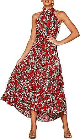 Longwu Vestido Largo Estampado Floral sin Mangas con Cuello Halter sin Mangas para Mujer Vestido Largo Plisado con cinturón