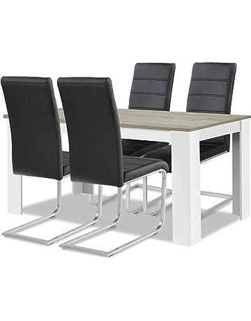 Moderne Holz Tisch Und Stühle Garnitur Esszimmer Set Polster 6x Stuhl Tische Neu Büro & Schreibwaren