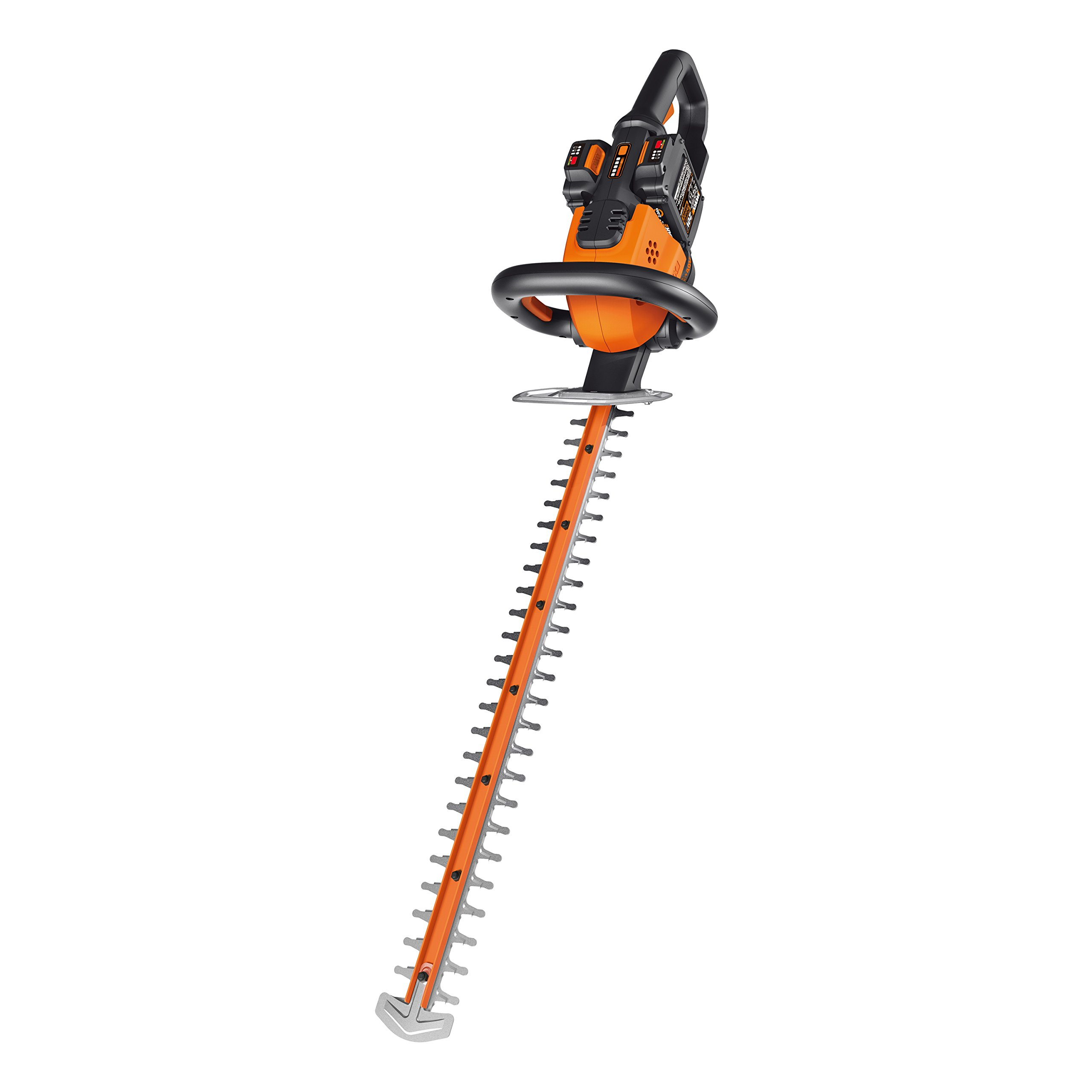 Worx WG284 2x20V (2.0Ah) 24'' Cordless Hedge Trimmer, 1 hr. Dual Charger and 2 Batteries Included