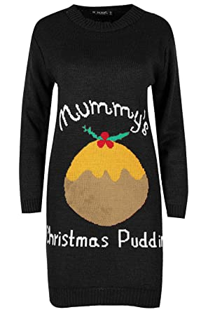 Womens Ladies Mummy/'s Pudding Maternity Oversized Baggy Christmas Knitted Dress