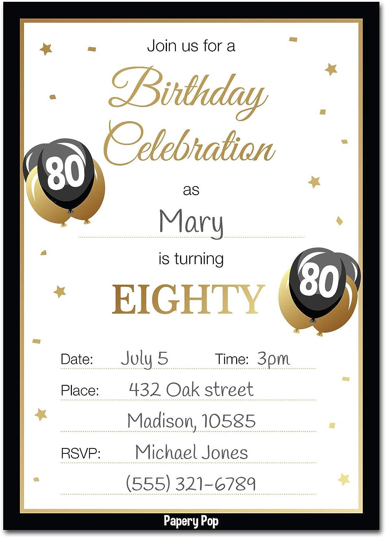 Amazon 80th Birthday Invitations With Envelopes 30 Pack