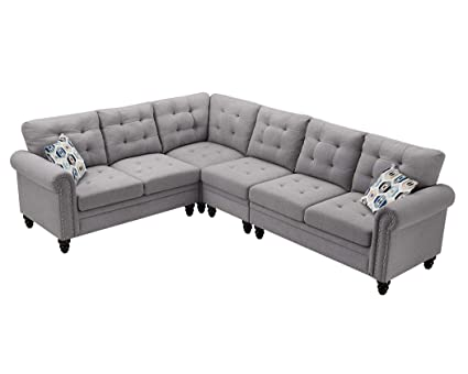 Amazon Com Sectional Sofa 4 Pieces Set Linen Fabric Studded Nail