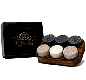 Whiskey Chilling Stones - Set of 6 Handcrafted Premium Granite Round Sipping Rocks - Hardwood Presentation & Storage Tray - Perfect Gift by R.O.C.K.S.