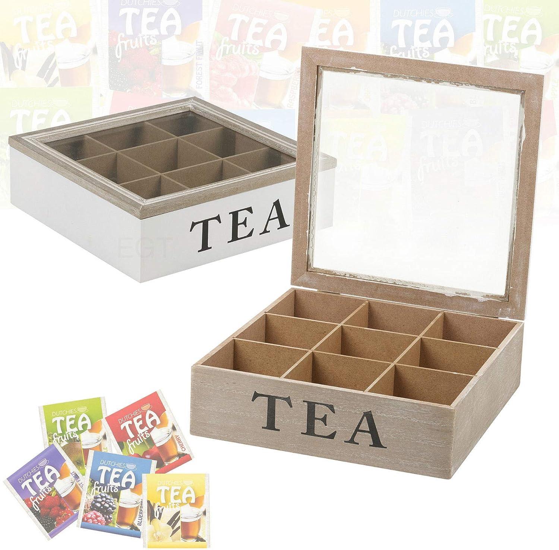 Generic Kitchen H - Bolsa de té con Tapa de Cristal, Compartimentos de Almacenamiento, bisagras de Madera, Caja de Almacenamiento para la Cocina, Color al Azar, Caja de té con bisagras: Amazon.es: