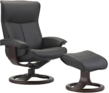 Fjords Senator Large Leather Recliner And Ottoman   Norwegian Ergonomic  Scandinavian Reclining Chair In Soft Line