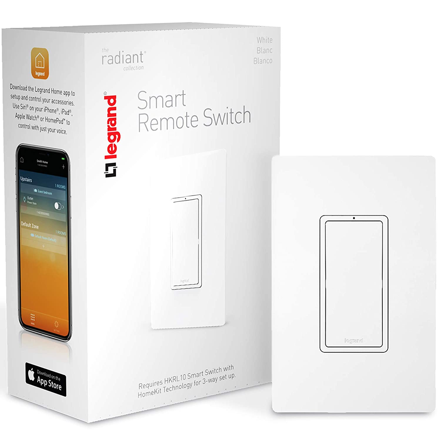Legrand, Smart Light Switch, Apple Homekit, Remote Accessory, Quick Setup On iOS (iPhone or iPad), No Hub Required, HKRL20