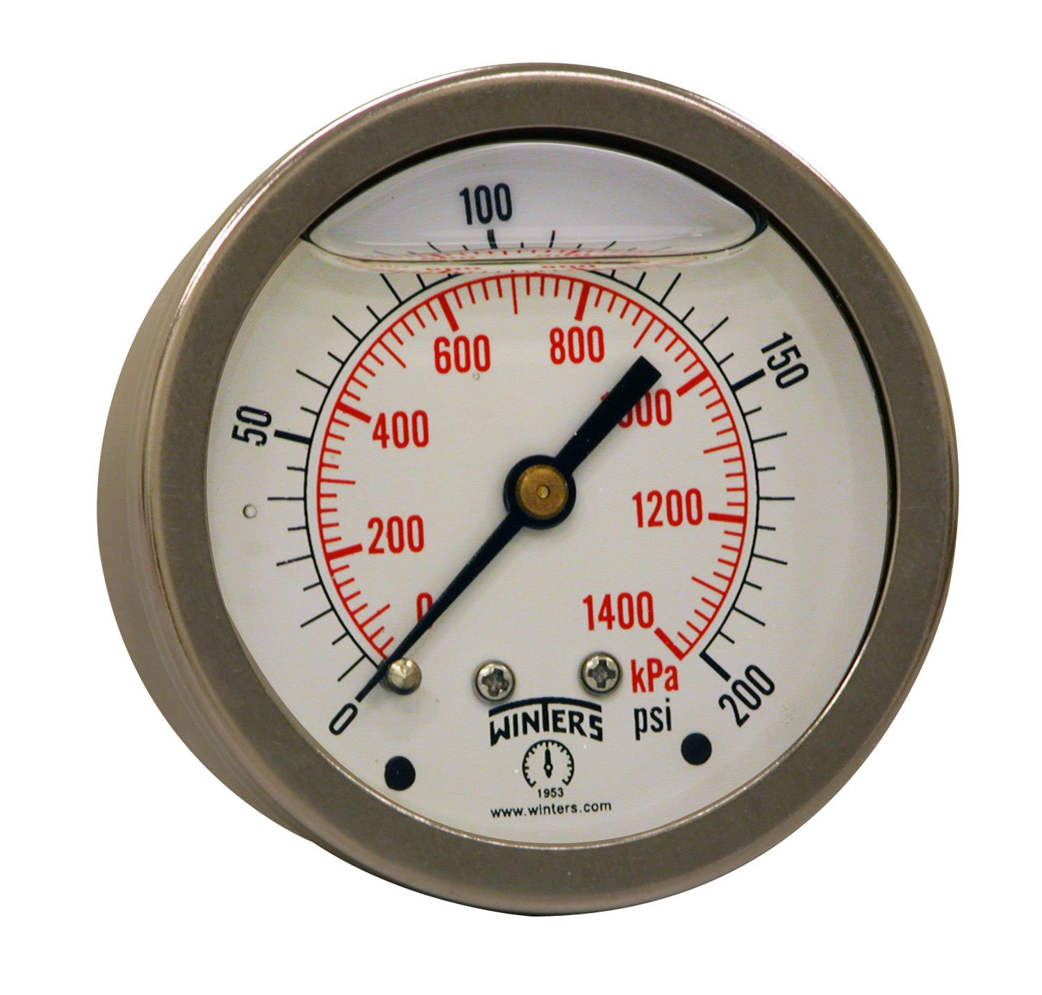 """Winters PFQ Series Stainless Steel 304 Dual Scale Liquid Filled Pressure Gauge with Brass Internals, 0-200 psi/kpa,2-1/2"""" Dial Display, +/-1.5% Accuracy, 1/4"""" NPT Center Back Mount"""