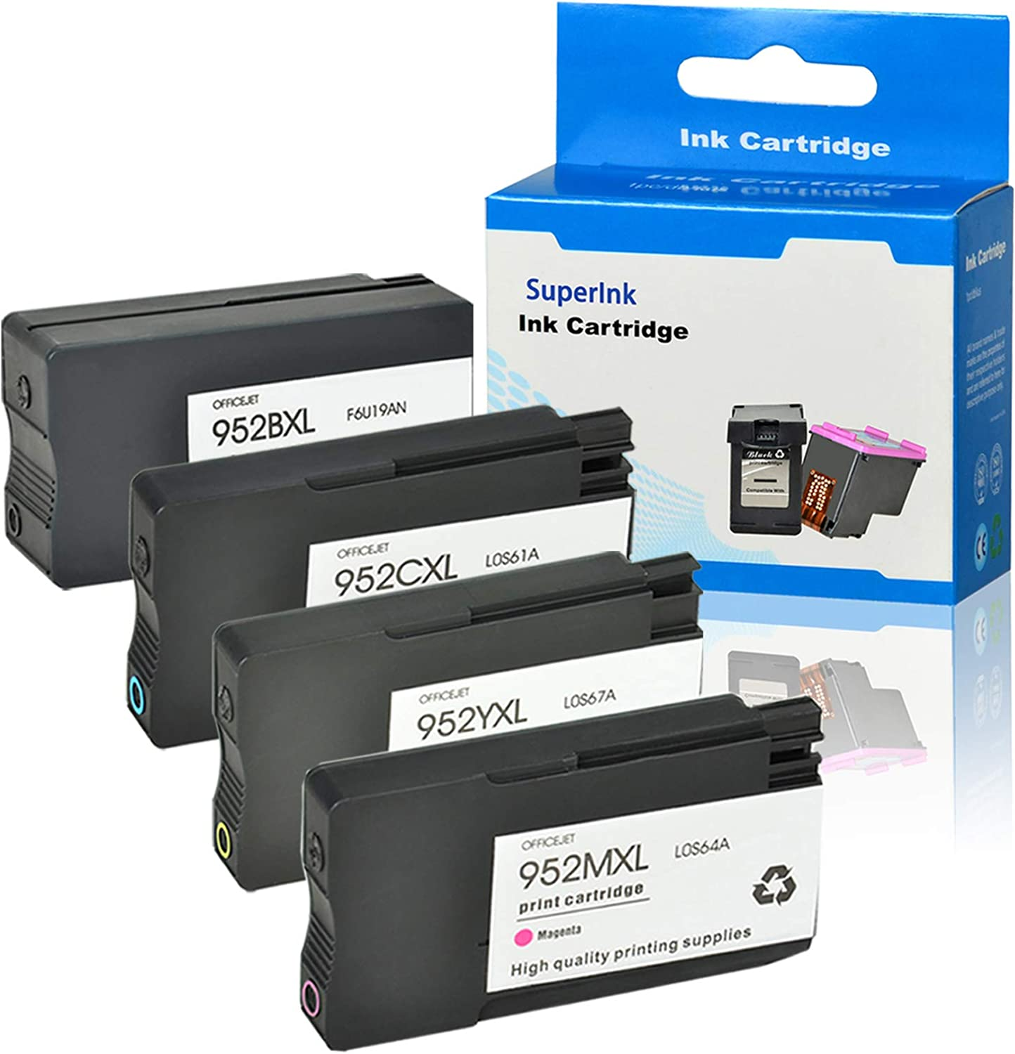 SuperInk Remanufactured Ink Cartridge Replacement Compatible for HP 952 XL 952XL to use with OfficeJet Pro 8710 8720 7740 8740 7720 8700 8715 (1 Black, 1 Cyan, 1 Magenta, 1 Yellow, 4 Pack)