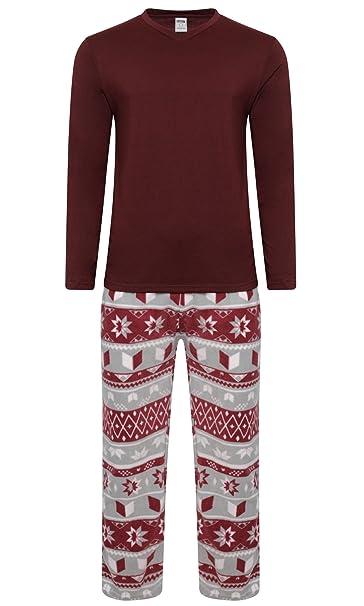 6355221ac9 Pigiama invernale caldo da Uomo, in pile, con maglia e pantalone:  Amazon.it: Abbigliamento