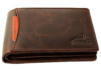 862f944f10741 Fa.Volmer ® braune Herren Leder Geldbörse Usedlook mit RFID-Schutz ...