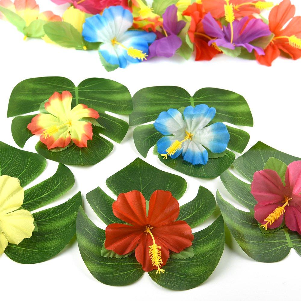 compleanni decorazioni foglie e fiori tropicali Kuuqa feste a tema 120 pezzi feste hawaiane spiaggia foglie di palme tropicali e fiori di ibisco per l/'estate