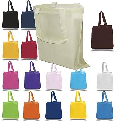 Amazoncom Cotton Canvas Tote Bags Bulk 20 Pack Reusable