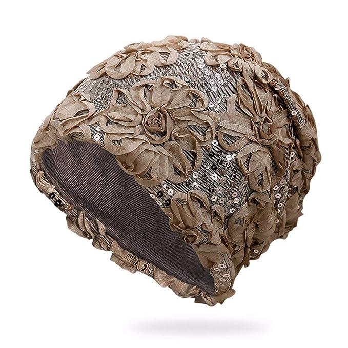 MZ Sombrero de Gasa Flor Lentejuelas señoras Gorras al Aire Libre Protector Solar sombrilla Transpirable Gorra de Luna Cap Cap, de Color Caqui: Amazon.es: ...
