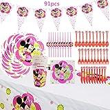 WENTS Set de Fiesta de cumpleaños de Minnie 91PCS Disney Minnie Mouse Party Decoration Set Platos Tazas Servilletas Pack…