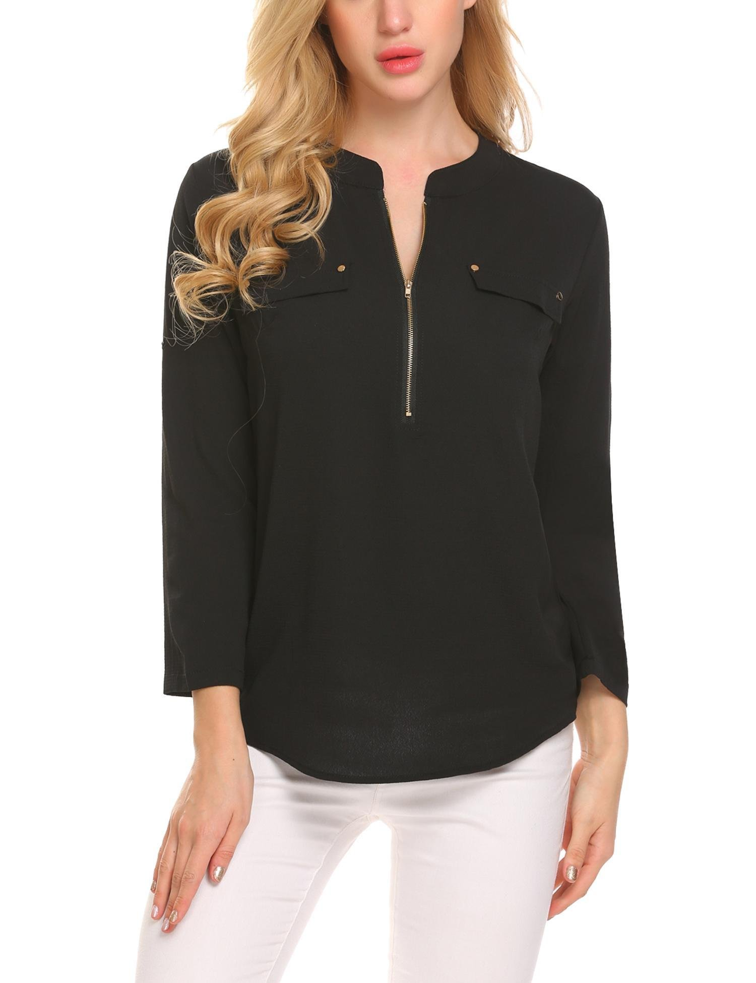 ANGVNS Women Ruched Sleeve Flower Printed Chiffon Blouse, Black 3, M