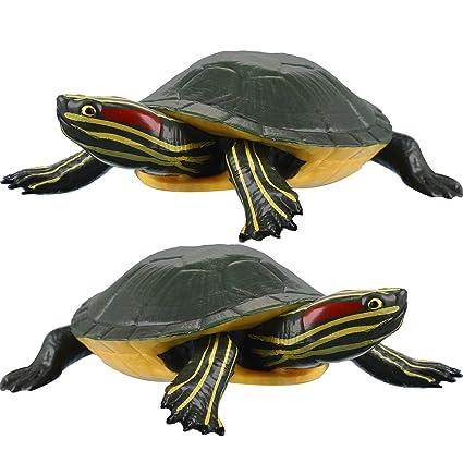 Amazon.com: 2 Pieces Plastic Turtles Brazilian Turtle Red ...