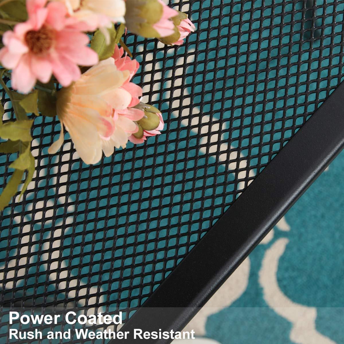 MF 27 Black Patio Metal Steel Mesh Square Bistro Dining Table for Garden,Backyard,Balcony,Kitchen