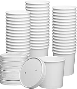 12 oz. Paper Food Containers With Vented Lids, To Go Hot Soup Bowls, Disposable Ice Cream Cups, White - 25 Sets