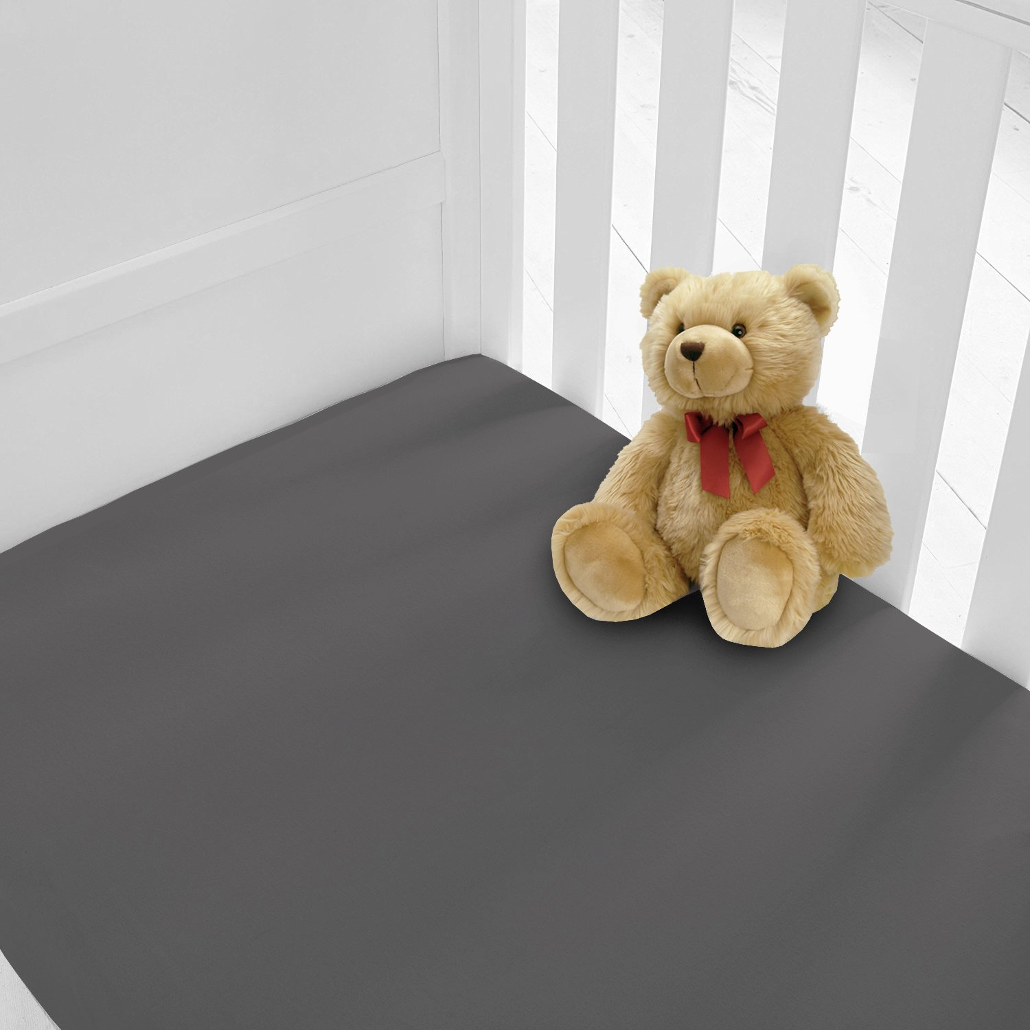 Luxury Percale Cot Bed Fitted Sheets Available in 12 Colours Cotbed, Charcoal Pack of 2 Two