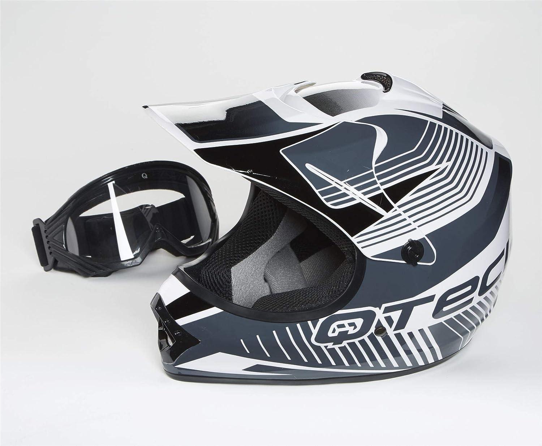 Qtech Casque de Moto pour Enfant avec Lunettes de Protection Motocross Cross Noir Mat - Rose - XS
