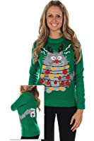Women's Ugly Christmas Sweater - Electrocuted Cat Christmas Sweater