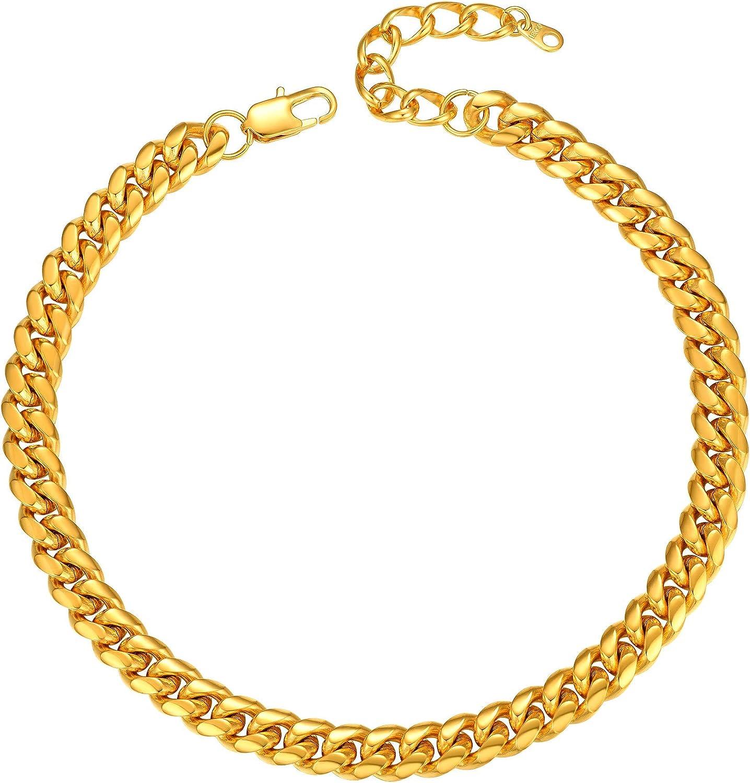 PROSTEEL Collar de Oro Hombre Cubana Cadena Miami Cubana Chapado en Oro 18k Cadena Hiphop Cadena Hombre Curb Cuba Chain Collar 6mm: Amazon.es: Joyería