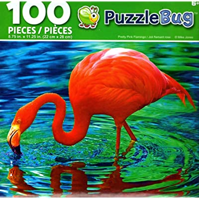 Prrety Pink Flamingo - PuzzleBug - 100 Piece Jigsaw Puzzle: Toys & Games