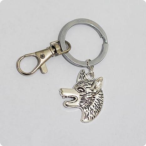 Llavero de cabeza de lobo de plata original con cabeza de ...