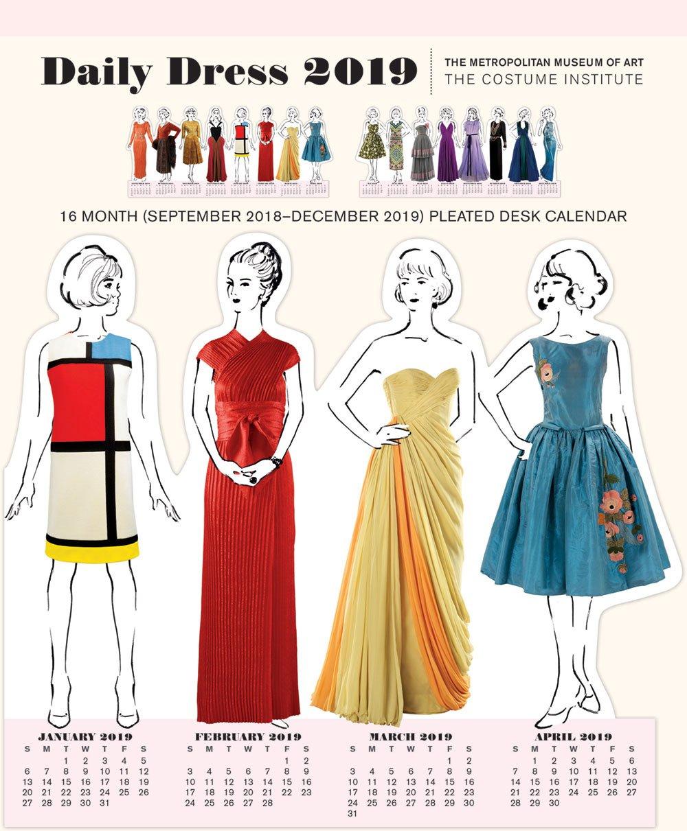 February 2019 Fashion Calendar Daily Dress 2019 Pleated Desk Calendar: The Metropolitan Museum of