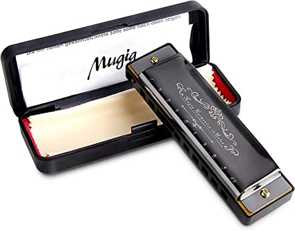Key of C Compact Blues Harp with Shiny Black Color Finish Diatonic Harmonica 10 Holes Blues Harmonica Premium Kids Harmonica in a Luxury Gift Packaging Best for Kids and Beginners