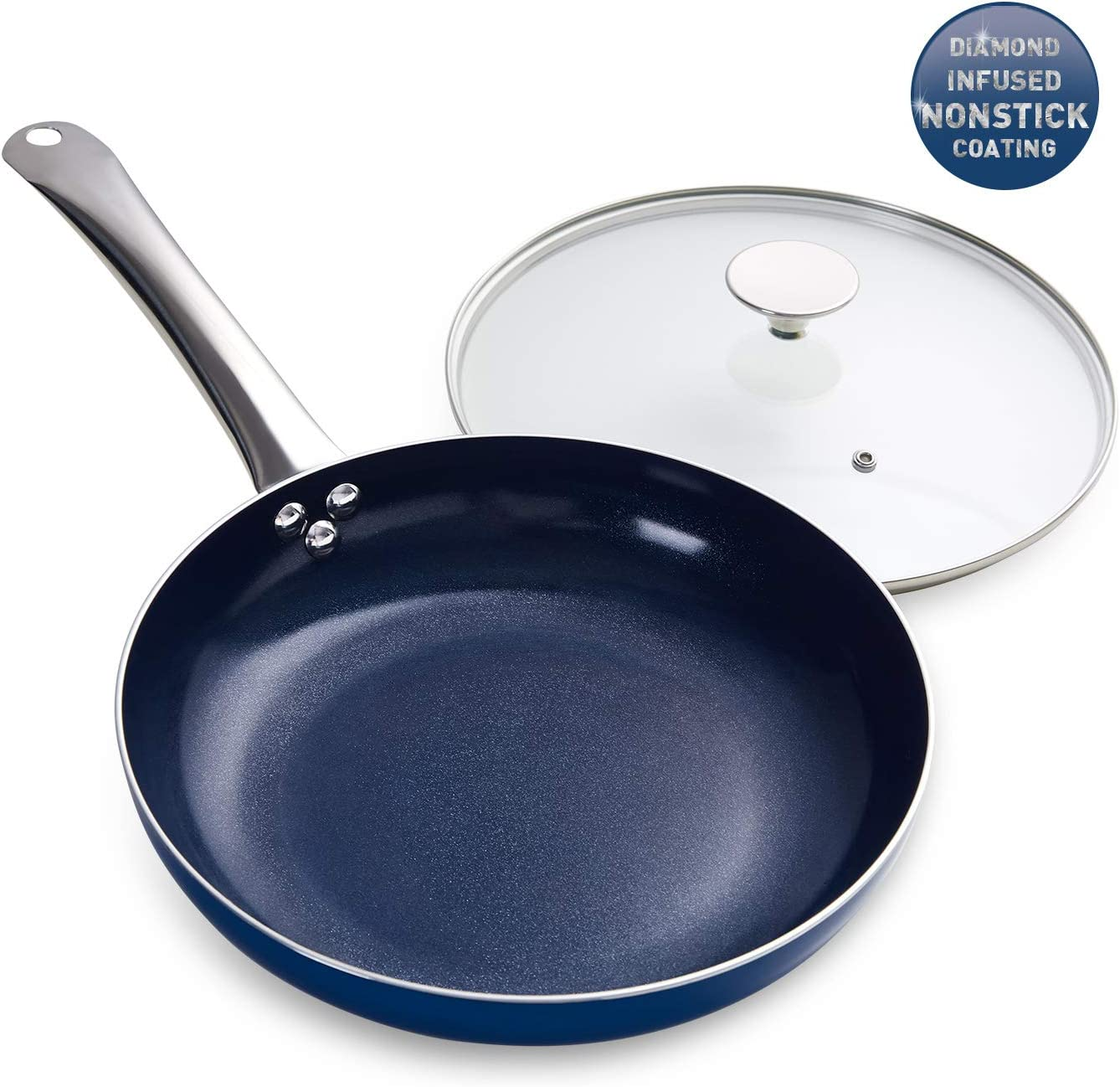 MICHELANGELO 10 Inch Frying Pan with Lid, Blue Frying Pan with Nonstick Diamond Infused Coating, Nonstick Frying Pans, Diamond Fry Pan Blue, Nonstick Skillet 10 Inch - Induction Compatible