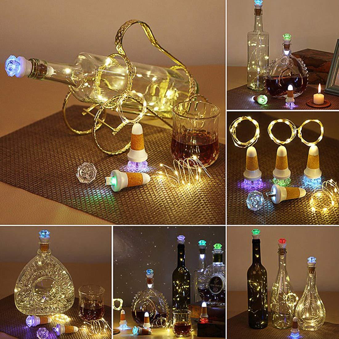 Neloodony Luz de Botella,Corcho Botella Luces, Lámparas de Botellas USB con Recargable,LED Luces para Botella para el hogar,jardín,terraza, Boda y Fiesta de ...