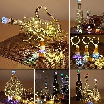 Neloodony Luz de Botella,Corcho Botella Luces, Lámparas de Botellas USB con Recargable,