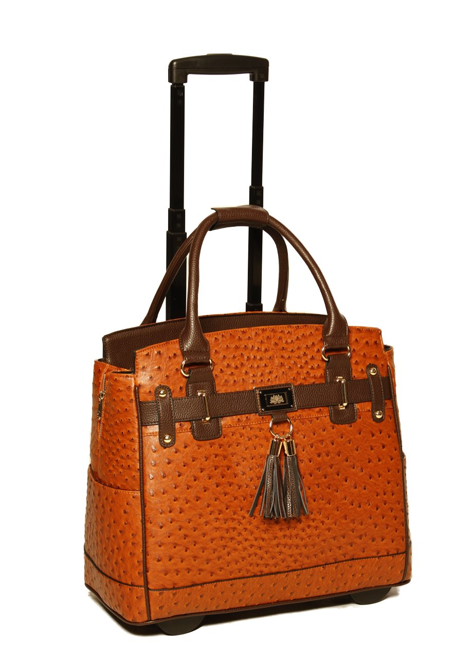 LESS THAN PERFECT - ''The Uptown'' Ostrich Computer iPad, Laptop Tablet Rolling Tote Bag Briefcase Carryall Bag by JKM and Company (Image #1)