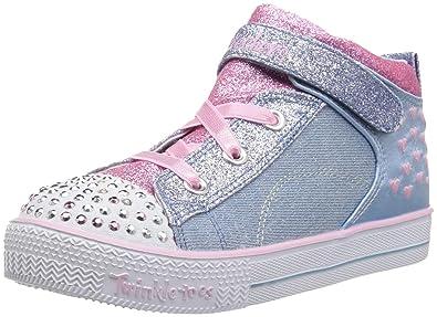 049d804c2a5a Skechers Kids Girls' Shuffle LITE-Dainty Denims Sneaker, Light Blue/Pink,