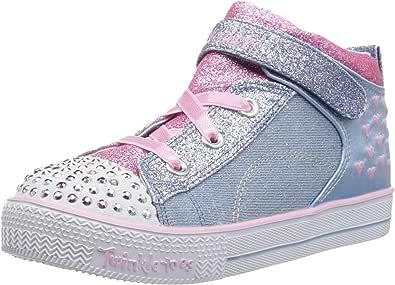 Skechers Australia Shuffle LITE - Dainty Denims Girls Training Shoe, Light Blue/Pink