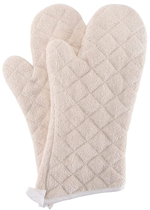 Terry Cloth Oven Mitts Heat Resistant to 482° F 17 Inch 100% Cotton Set of 2