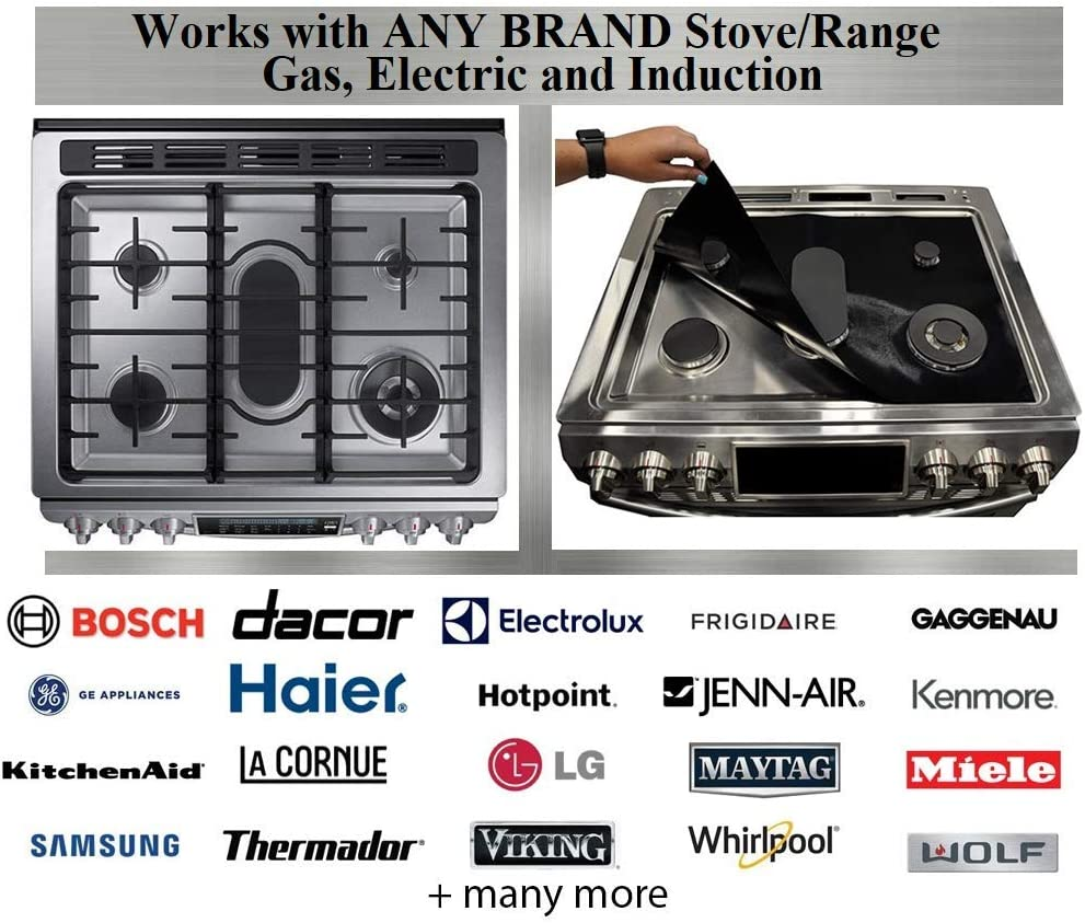 Stove Wrap Stove Top Protector Splatter Guard Value Pack Kit - Fits all Electric Gas Compatible with Samsung GE Whirlpool LG and more, Free Oven Liner plus large Multipurpose liner included