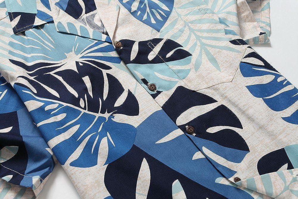 Made in Hawaii Mens Hawaiian Shirt Aloha Shirt Tropical Leaves in Blue
