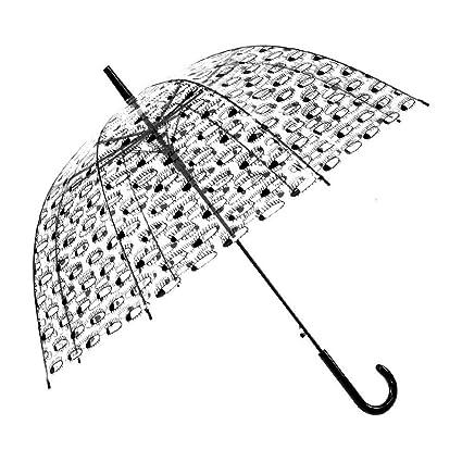 BiuTeFang Paraguas paraguas transparente mango largo espeso poe plástico paraguas paraguas recto 58.5x80cm