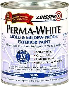 Rust-Oleum 3104 Zinsser PermaWhite Exterior Satin, 31.5 fl.oz.