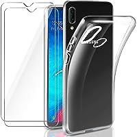 Leathlux Etui kompatybilne z Samsung Galaxy A20e etui z 2 sztukami szkła pancernego, przezroczyste etui silikonowe TPU…